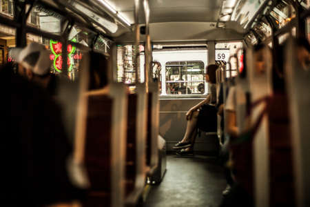Hong Kong, China - 7 July, 2013: View of the top deck on a double decker tram in Causeway Bay district in Hong Kong Redactioneel
