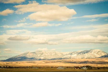 Mountain range on the edge of Bozeman, Montana Stock Photo