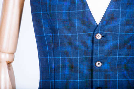 Details of a tailored blue vest on a mannequin Stock Photo