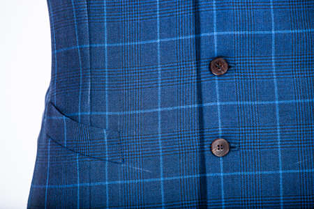 tailored: Details of a tailored blue vest on a mannequin Stock Photo