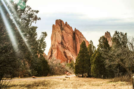 Garden of the Gods, a park with special rock formations near Colorado Springs, Colorado, USA. Stock Photo
