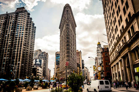 fifth avenue: New York, USA - 19 September, 2009: View of the infamous Flatiron Building in midtown Manhattan