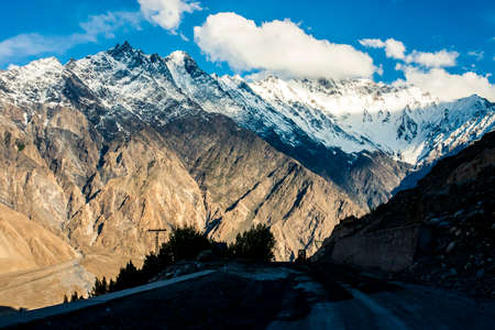 View of the Karakoram mountain range in northern Pakistan and western China