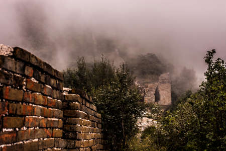 Jianko section of the Great Wall of China, which has not been renovated and remains in a natural state