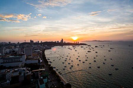 Pattaya, Thailand - 1 December, 2016: View of the Pattaya Skyline and ocean.