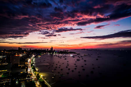 Pattaya, Thailand - View of the Pattaya Skyline and ocean. Фото со стока