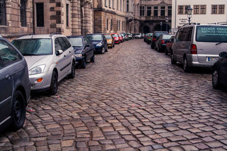 Dresden, Germany - 1 Jan. 2008: Cobblestone street  next to the Zwinger in downtown Dresden on New Year's day.