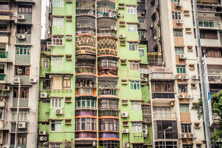 Macau, China - 9 June, 2009: Exterior of apartment blocks in the Taipa district of Macau during the daytime Editorial