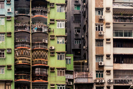Macau, China - 9 June, 2009: Exterior of apartment blocks in the Taipa district of Macau during the daytime Stock Photo