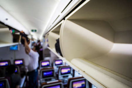 Overhead luggage compartment on a modern commercial airliner