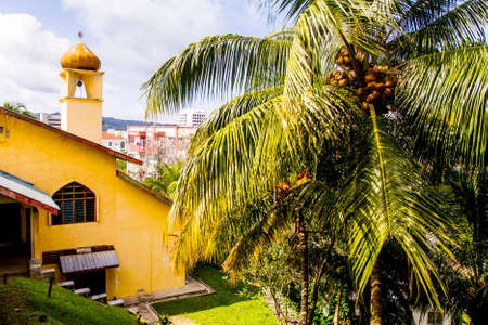 Mosque in Kota Kinabalu, Malaysia on a sunny day Editorial