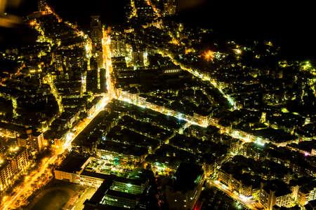 Taipei, Taiwan - 3 October, 2012: Cityscape of Taipei from a high vantage point at nighttime Reklamní fotografie - 77498143