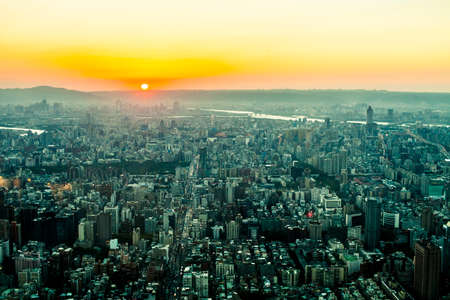 Taipei, Taiwan - 3 October, 2012: Cityscape of Taipei from a high vantage point