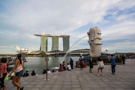 Singapore, Singapore: 6 January, 2017: Iconic Singapore Merlion with the city skyline in the background