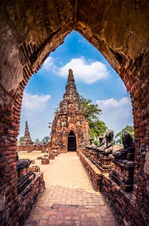 Ruins of ancient temples at Ayutthaya Historical Park, Thailand