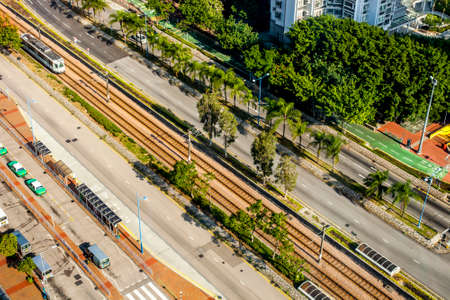 Hong Kong, China - 15 November, 2013: Top view of the light rail tracks in Tsuen Wan district on a sunny day