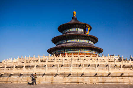 Beijing, China - 29 November, 2013: The Temple of Heaven, an imperial building from the Ming and Qing dynasties, in southeastern Beijing on a sunny winter day