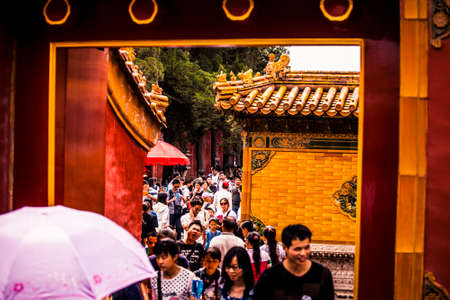 Beijing, China - 9 June, 2013: Forbidden City, the imperial capitol of ancient Chinese dynasties, in central Beijing Редакционное