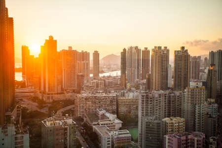 Hong Kong, China - 23 September, 2015: Skyline of the city at sunset, overlooking districts in southern Kowloon Reklamní fotografie