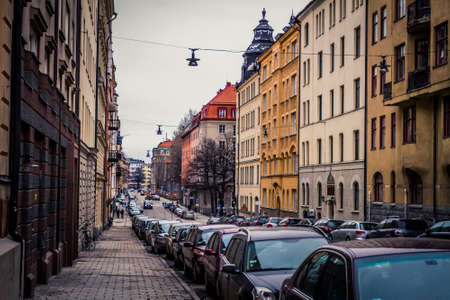 Stockholm, Sweden - 13 March, 2011: Street scene on an overcast day along a narrow street in Sodermalm district Reklamní fotografie