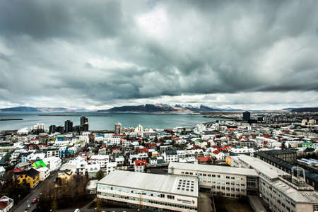 Reykjavik, Iceland - 11 May, 2013: Skyline of the capitol city of Reykjavik seen from the center of the city