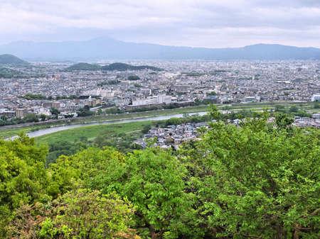 Kyoto, Japan - aerial view from Arashiyama. Japanese city. photo