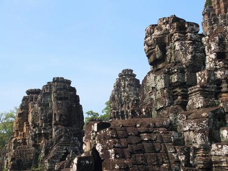 bayon: Cambodia monuments - Bayon temple ruins in Angkor Thom complex.