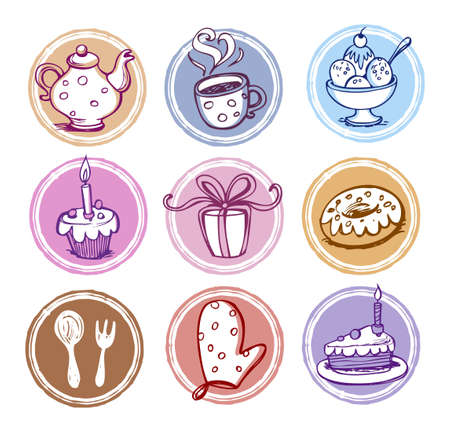 Meal and kitchen icons set Vector