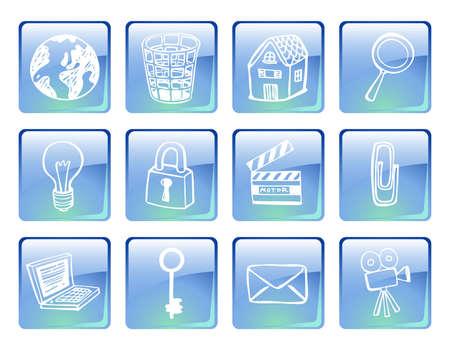 Iconos de equipo azul Vectores