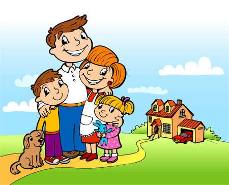 Familia feliz en un umbral de la casa fina Vectores