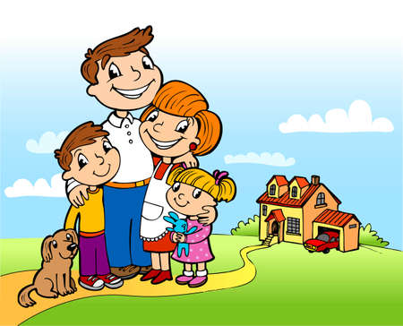 Happy family on a threshold of the fine house Stock Vector - 8704758