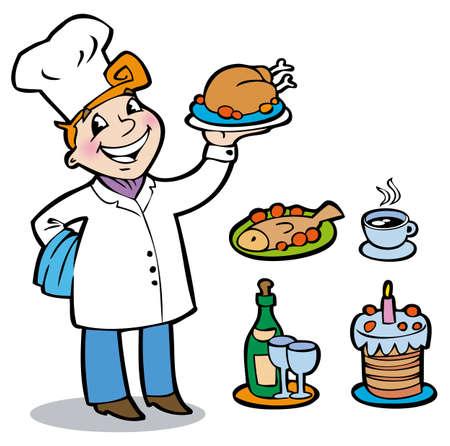 El cocinero alegre celebraci�n sobre una bandeja de diferentes tipos de platos Vectores