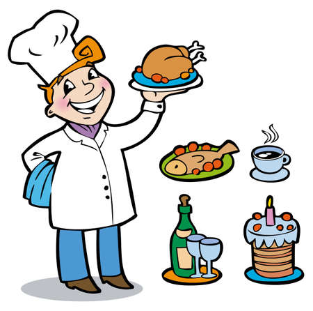 The cheerful cook holding on a tray different kinds of dishes Vettoriali