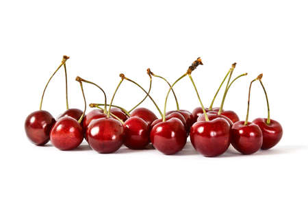 Cherries with Dewdrops on White Background Stock Photo
