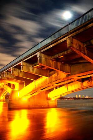 Kiev Metro Bridge At Night, Long Exposure