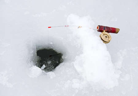 Fishing line in a ice hole