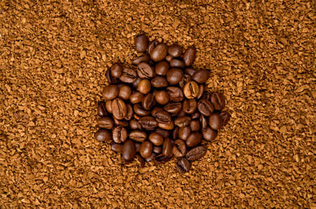 Coffee Beans and Granulated Instant Coffee Stock Photo
