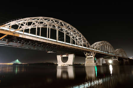 Kiev Railway Bridge At Night, Long Exposure