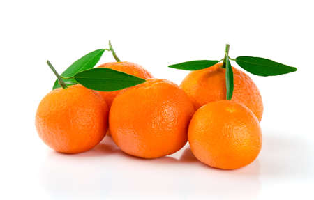 Five Fresh Mandarins with Leaves Isolated on White