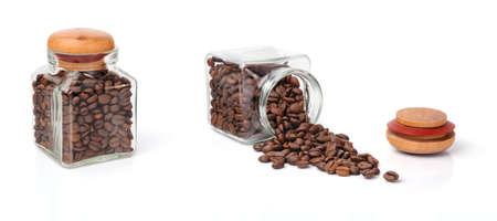 Studio Shot de granos de caf� en un tarro Foto de archivo