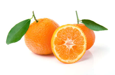 Fresh Tangerine with Leaves Isolated on White Stock Photo