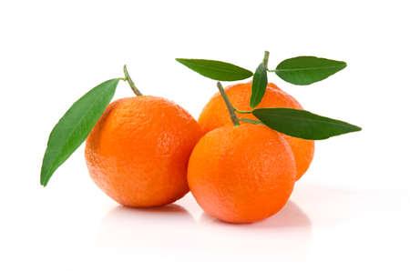 Tangerines with Leaves  Mandarins Orange Isolated on White