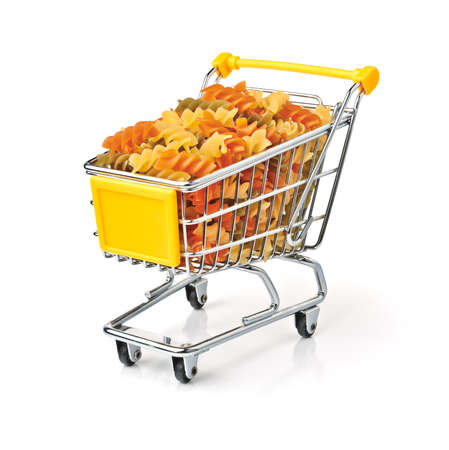 Shopping Cart Filled With Pasta  Isolated On White Background
