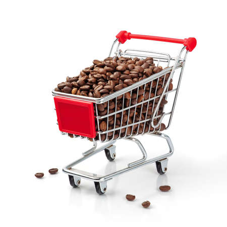 Shopping Cart Filled with Coffee Beans, Isolated On White Background