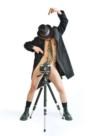 nude photographer on white background