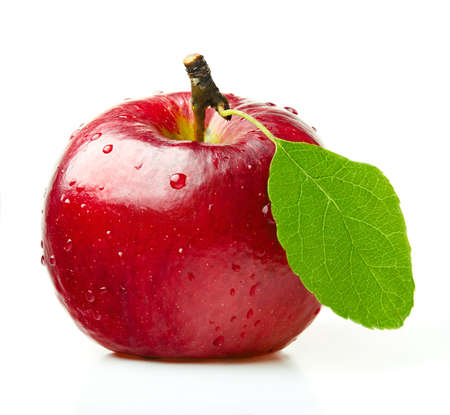 Red Apple with Green Leaf on White Background