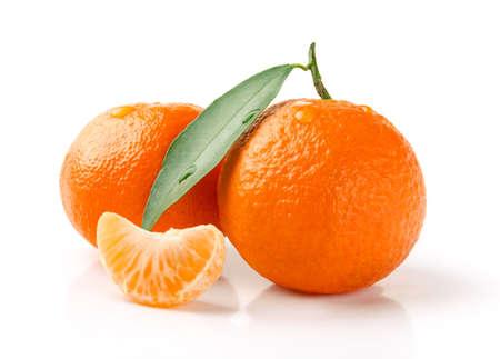 Fresh Mandarin with Leaf and Slice Isolated on White