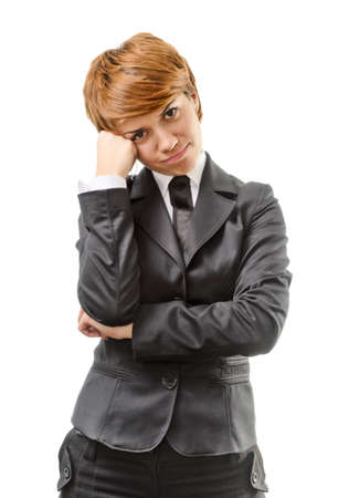 Confused Businesswoman Isolated On A White Background Stock Photo - 16887041