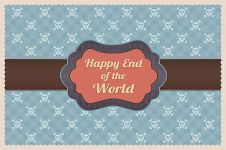 Retro Greeting Card Happy End of the World Illustration