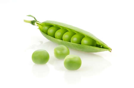 Pea Pod with Peas Isolated on White Background